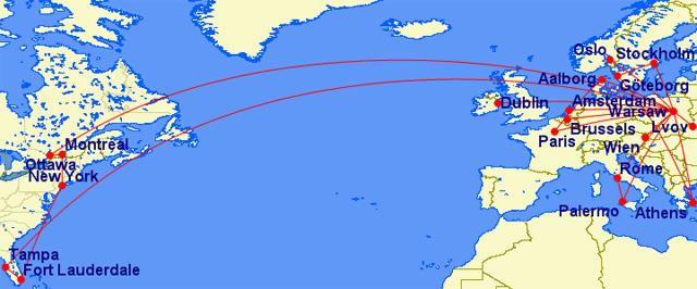 Orientacyjna mapa lotów pracowników ZUS w 2015
